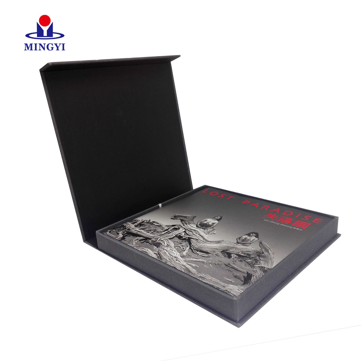 Luxury clamshell book brownies gift packaging box with ribbon use fancy paper