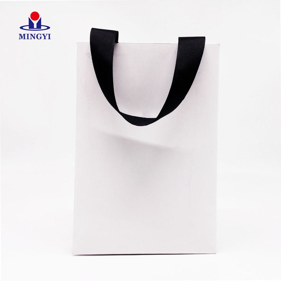 Customized luxury paper bag white sample with ribbon Small size